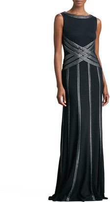 Tadashi Shoji Sleeveless Gown with Ribbon Striping