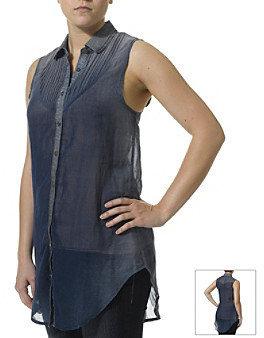 Silver Jeans Co. Denim Trim Sheer Blouse