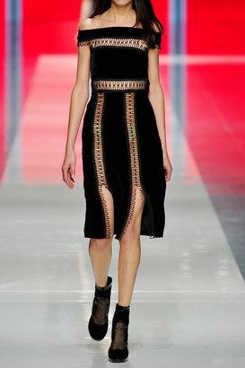 Christopher Kane Loop tape-trimmed velvet dress