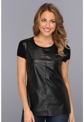 Vince Camuto Cap Sleeve Tee w/ Pleather Front (Rich Black) - Apparel