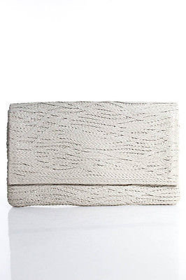 Jay Ahr Beige Braided Leather Fold Over Large Clutch