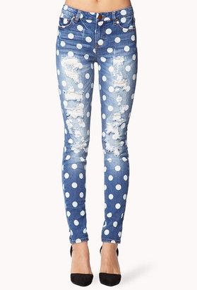 Forever 21 Destroyed Polka Dot Skinny Jeans