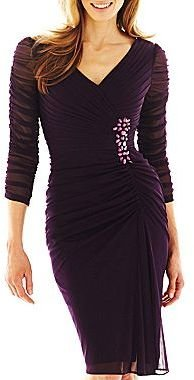 JCPenney Embellished Ruched Dress