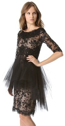 Marchesa All Over Lace Dress