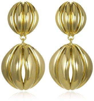 Kara Ross Gold Half Cage Drop Earrings