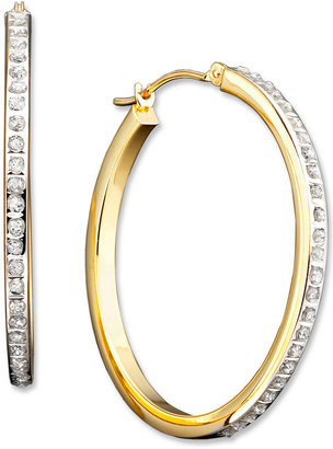 14k Gold Diamond Accent Large Hoop Earrings