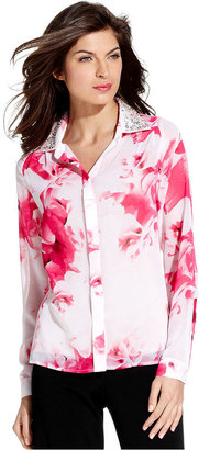 Ellen Tracy Shirt, Long-Sleeve Floral-Print Beaded