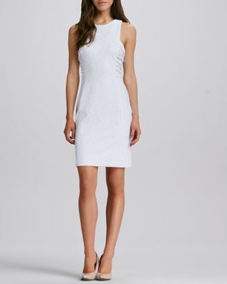 Phoebe Couture Sleeveless Ruched Jewel-Neck Dress