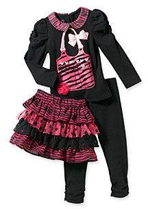 Nannette Girls' 2T-6X Black/Pink Ruched Sleeve Skeggings Set