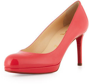 Christian Louboutin New Simple Patent Leather Platform Red Sole Pump, Pink