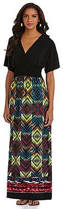 Calessa V-Neck Diamond-Print Maxi Dress