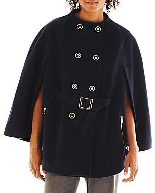 JCPenney Collezione Faux-Wool Cape Coat