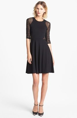 French Connection 'Vienna' Lace Inset Jersey Fit & Flare Dress