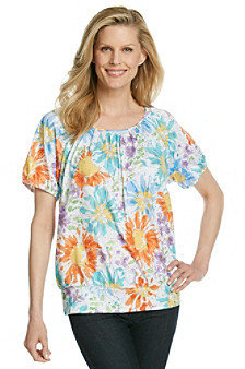 Cathy Daniels® Scoopneck Allover Floral Print Top