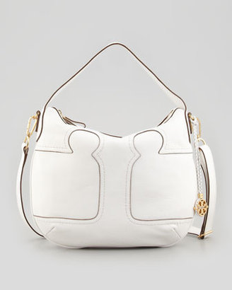 Tory Burch Amalie Adjustable-Strap Hobo Bag, Ivory