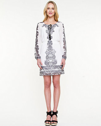 Le Château Print Boat Neck Peasant Dress
