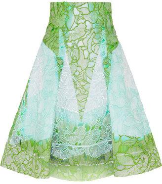 Peter Pilotto Radial cutout embroidered silk-gauze skirt