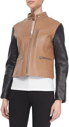 Vince Zip-Up Leather Moto Jacket, Truffle