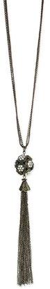Z Designs Pave Ball Tassel Necklace