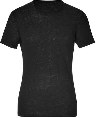 Majestic Black Round Neck Linen T-Shirt