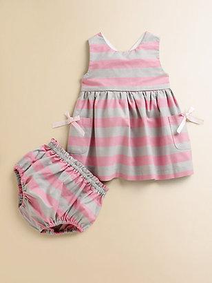 Lili Gaufrette Infant's Striped Cotton Crepe Dress & Bloomers Set