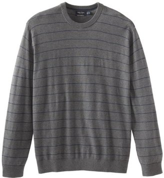 Nautica Men's Big-Tall Stripe Crew Neck Sweater,Graphite Heather, 6X