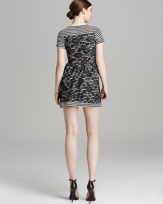 Aqua Dress - Stripe Ponte Lace Overlay Short Sleeve