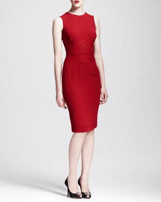 Dolce & Gabbana Sleeveless Lace-Waist Sheath Dress, Red