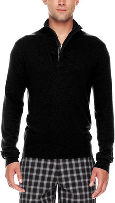 Michael Kors Leather-Trim Half-Zip Sweater, Black
