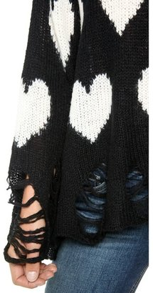 Wildfox Couture All Over Love Loose Knit Sweater