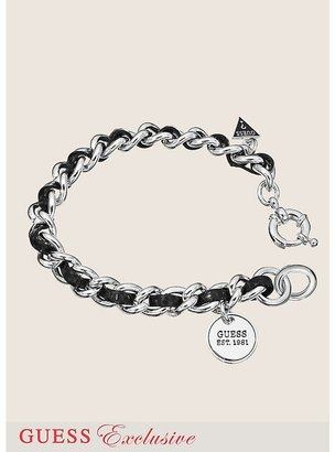 GUESS Small Silver-Tone and Leather Chain Bracelet