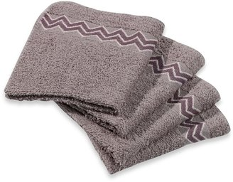 Bed Bath & Beyond Revere Mills Bathsol Chevron Wash Cloths in Grey (Pack of 4)