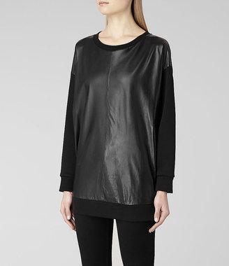 AllSaints Nerine Leather Sweat