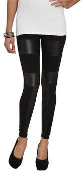 Wet Seal WetSeal Latex Inset Legging Black/black