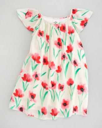 Milly Minis Jesse Poppy Print Gathered Dress, Sizes 2-6