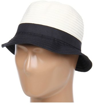 Calvin Klein Colorblock Ribbon Cloche (Black) - Hats