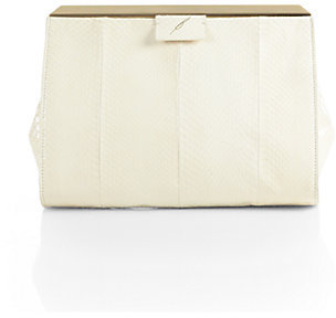 Brian Atwood Leigh Snakeskin Frame Clutch