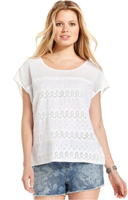 DKNY Top, Short-Sleeve Mesh Lace