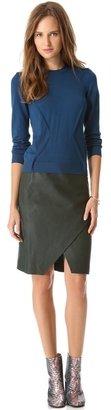 Cédric Charlier Asymmetrical Leather Skirt
