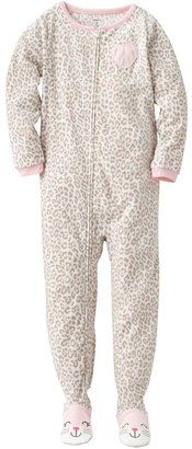 Carter's leopard fleece footed pajamas - girls