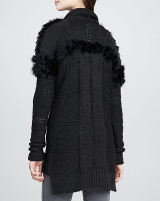 Nanette Lepore Fur-Trim Knit Cardigan