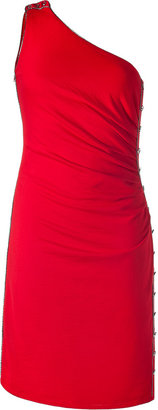 Azzaro Scarlet Red One Shoulder Knit Dress