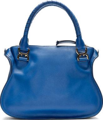 Chloé Blue Leather Metal-Trimmed Marcie Medium Shoulder Bag