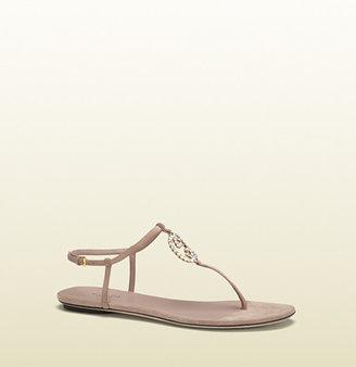 Gucci Katlin Light Pink Suede Thong Sandal