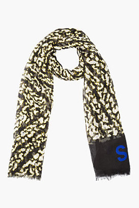 Proenza Schouler Black Printed Cashmere-Silk Logo Scarf