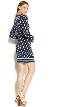 MICHAEL Michael Kors Long-Sleeve Graphic-Print Sheath