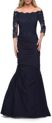 La Femme Gathered Lace Mermaid Gown with Jersey Skirt