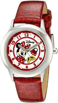 Disney Kids' W000285 Tween Minnie Mouse Glitz Stainless Steel Watch With Red Glitter Band