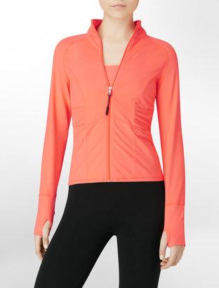 Calvin Klein Performance Ruched Sleeve Zip-Front Jacket