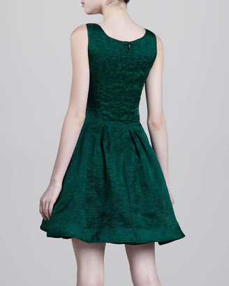 Zac Posen Textured Fit-and-Flare Dress, Green
